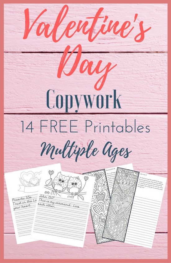 Free Valentine's Day Copywork! 14 page set with coloring, includes some of my favorite bible verses about LOVE! Created for both younger and older children!