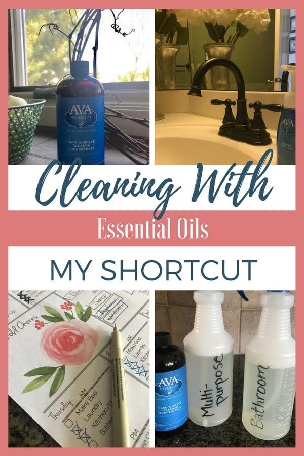 Cleaning with essential oils doesn't have to be complicated! I've made the switch to a simple and natural product--Ava Shield Hard Surface Cleaner Concentrate (infused with 100% pure essential oils)! Just add water + the concentrate to a spray bottle, and you are ready to go!
