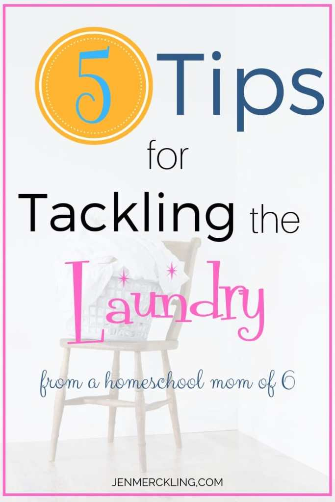 The laundry piles are not going away! With 6 kids--I've learned some tricks for keeping it simple! Sharing My 5 Tips for Tackling the Laundry! #laundry #laundrytips #cleaning #homeorganization