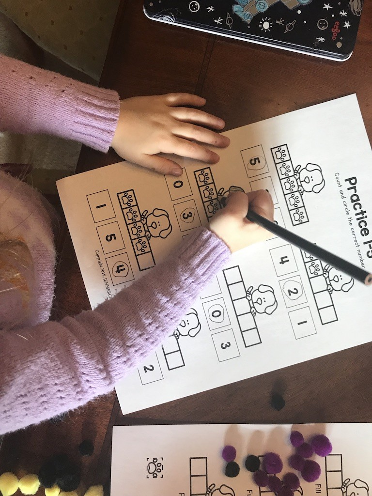 Free Preschool Math Worksheet Numbers 1-5