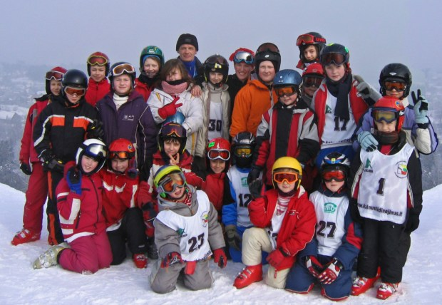 The first KE ski team photo on Liepkalnis in 2006. Helmets and goggles were mandatory.