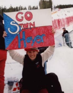 Cheering for Stanley Hayer of the Czech Republic at the 2002 Olympics in Salt Lake City.