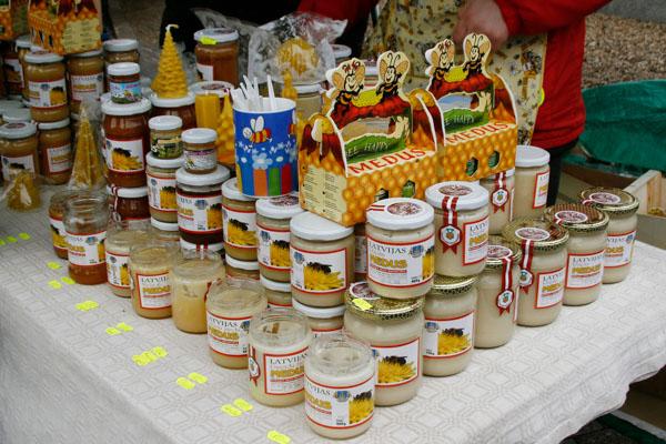 Assorted jars of homemade honey.