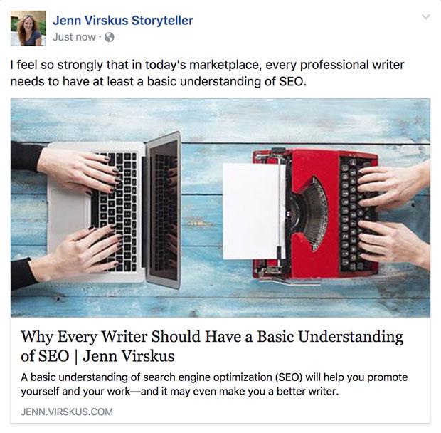 SEO for writers Facebook screenshot