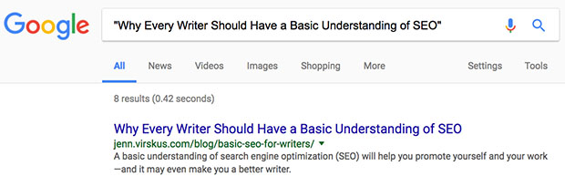 SEO for writers Google search screenshot
