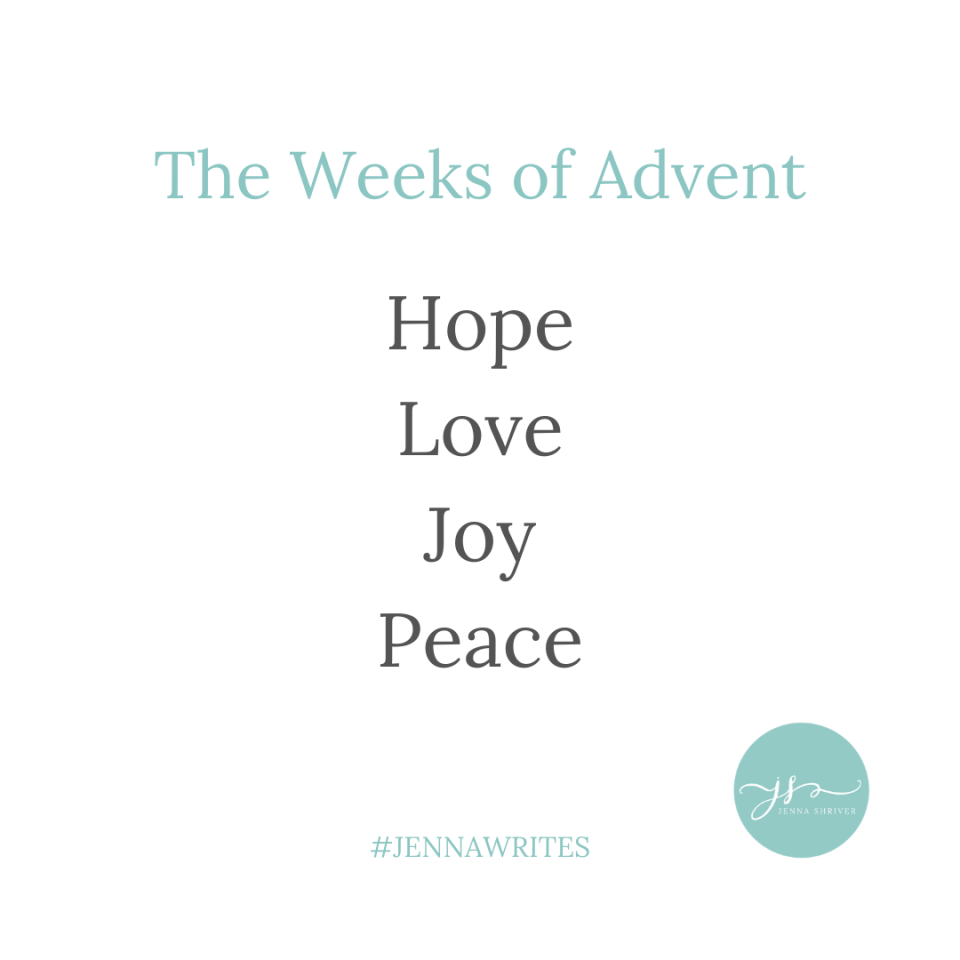 Advent and anticipation. Weeks of advent. Hope, love, joy, peace.