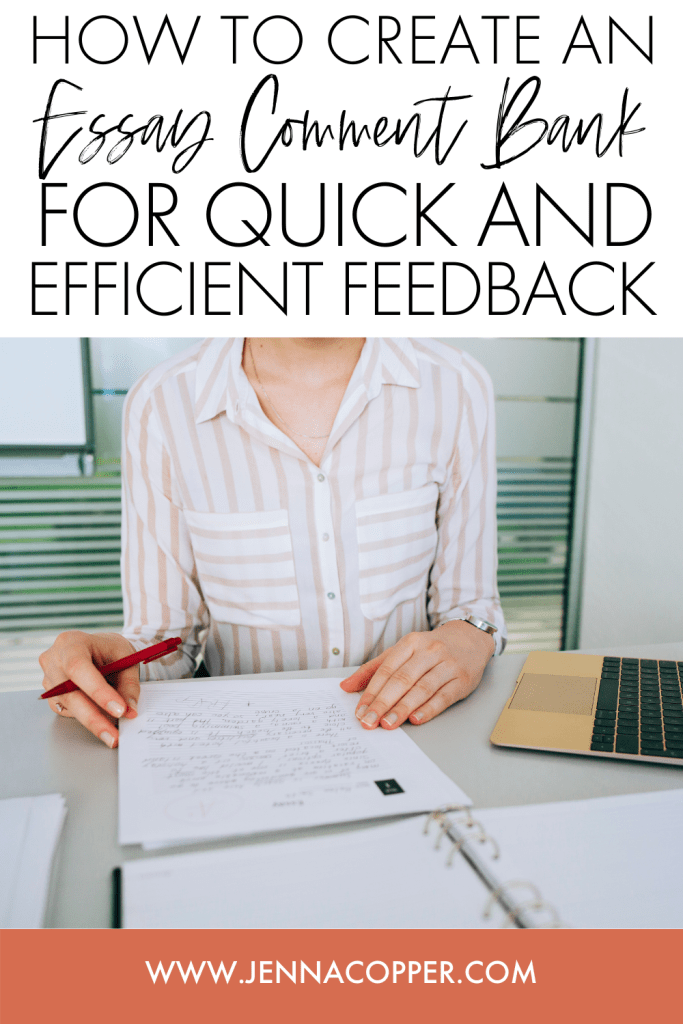 Are you struggling to find the time to leave meaningful essay feedback to your high school or middle school students? Check out this free comment bank guide! In this post, you'll learn a quick and efficient strategy for creating a comment bank to leave rich and meaningful feedback for your ELA students. This grading hack is a great way to save time while still providing valuable feedback. You can also download a free comment bank to get you started!