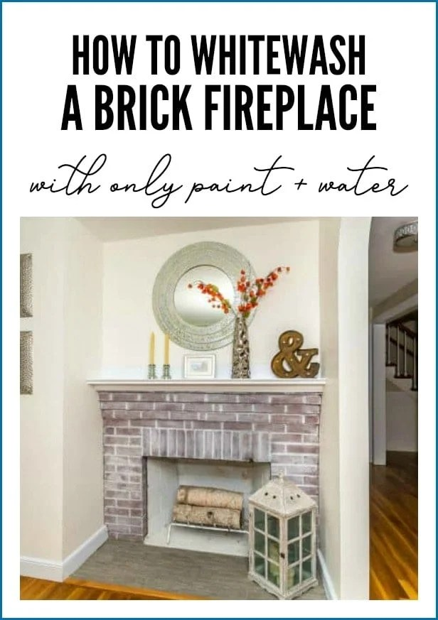 Whitewash brick fireplace
