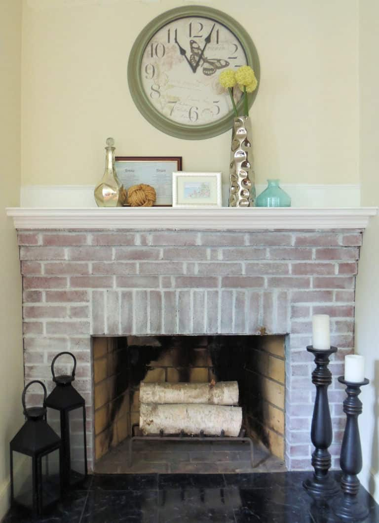DIY white washed fireplace