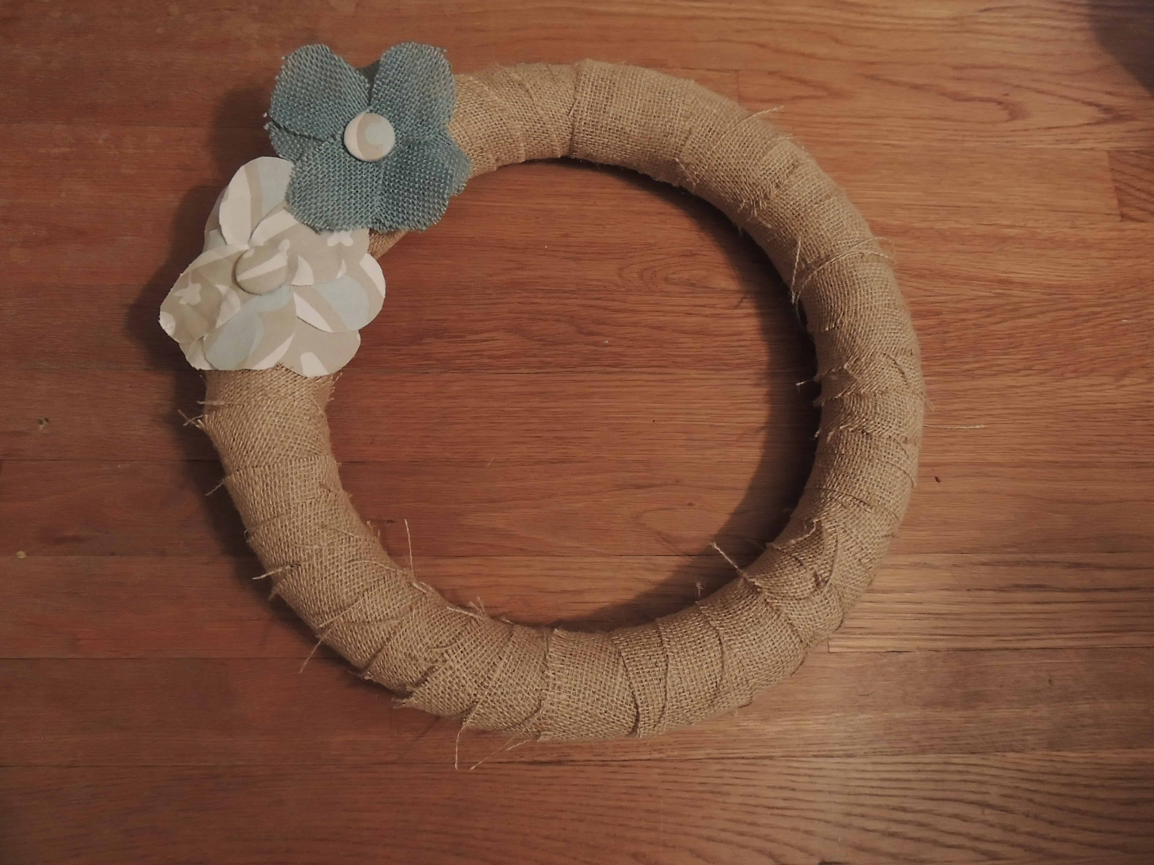 Add as many burlap flowers as you'd like to your diy burlap wreath