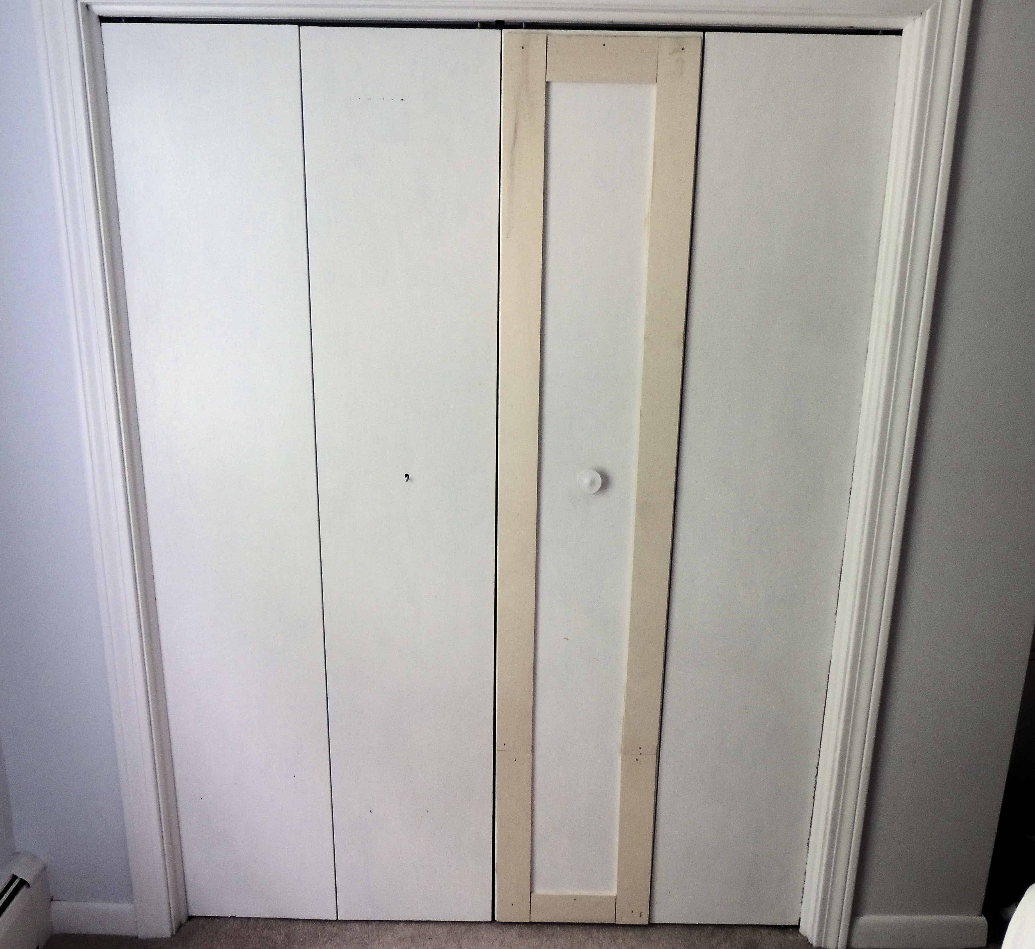 The basic frame is up - 2 vertical and 2 horizontal pieces on one door panel