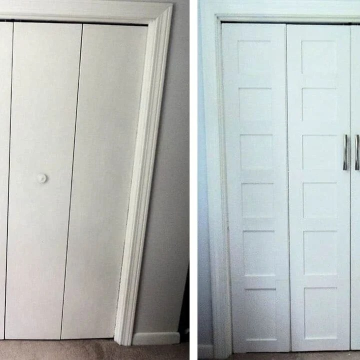 Closet Door Makeover - from Plain to Panel