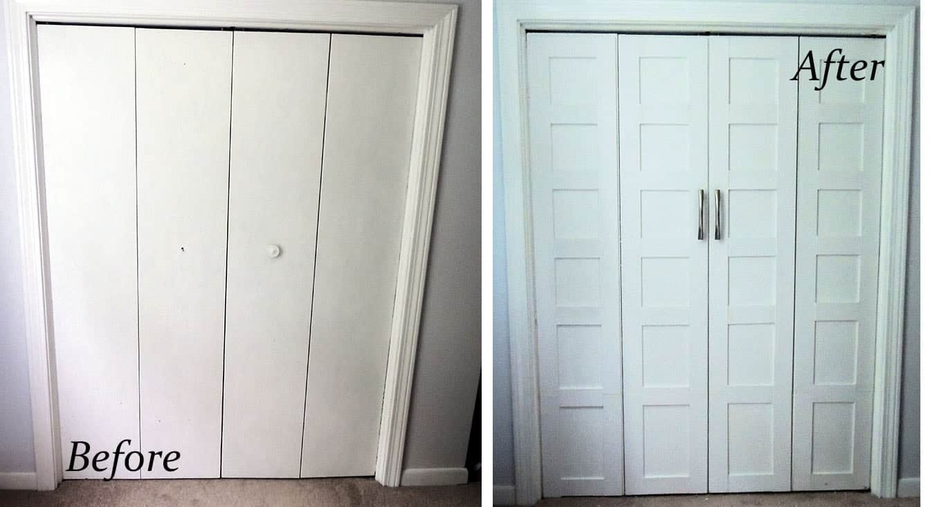 Plain, flat doors on left; upgraded, paneled doors on the right.