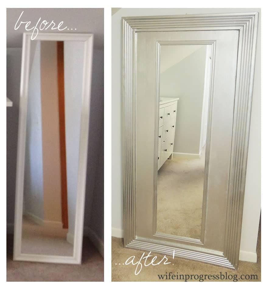 Before and after shot of elegant DIY floor-mirror