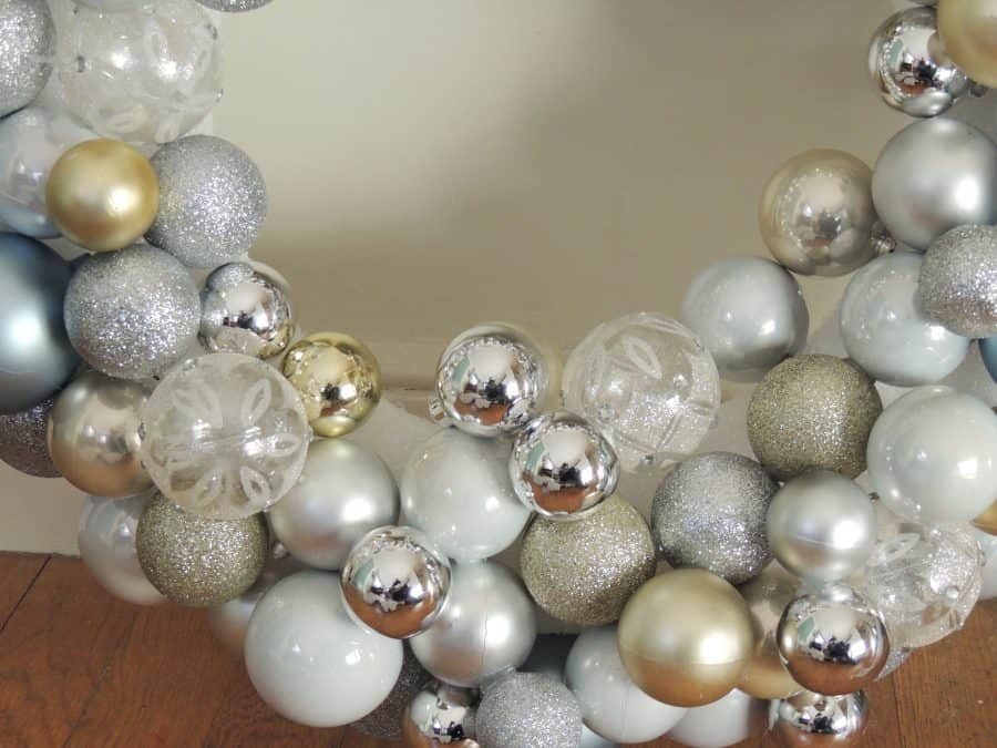 Once the Ornament wreath is mostly full, fill in any gaps with smaller ornaments