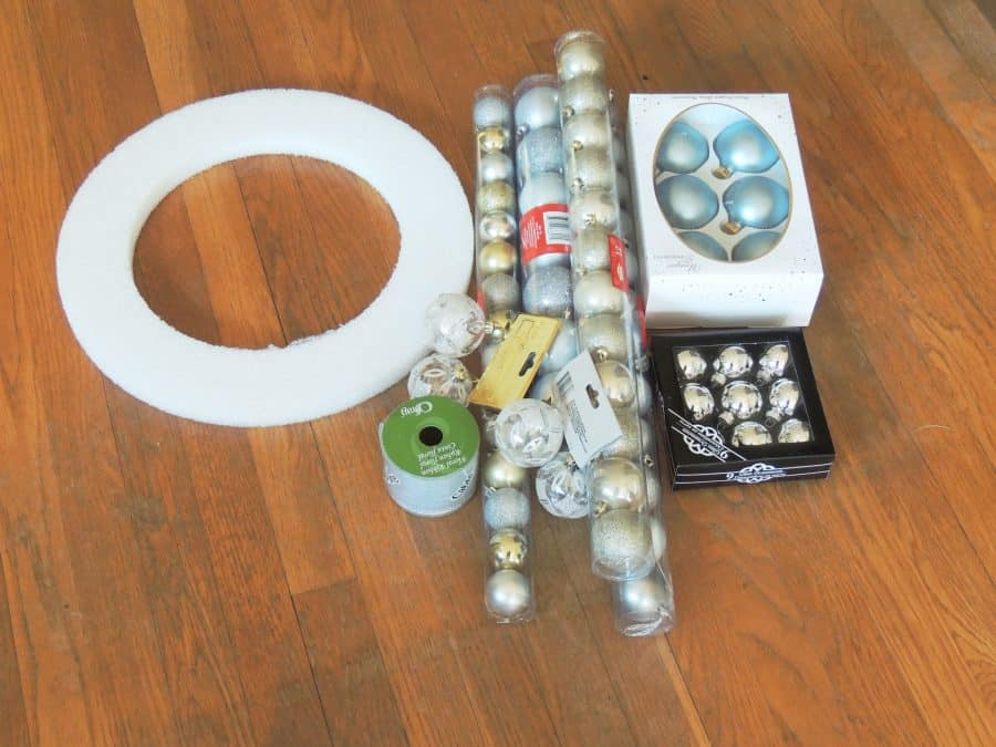 All you need to make this Christmas ornament wreath is a styrofoam wreath frame and some decorative Christmas ornaments