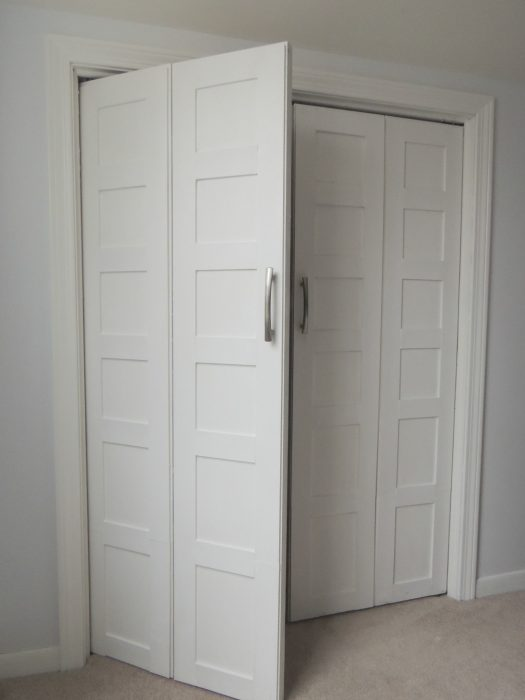 Later project - the same closet doors have been converted to french doors that swing out.