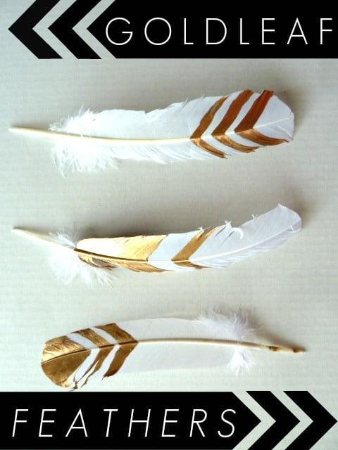 Gold leaf crafts: gold leaf feathers