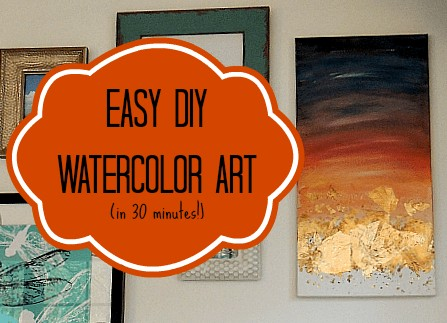 "Text Insert in front of a photograph of wall hangings reads ""Easy DIY Watercolor Art (in 30 minutes)"""