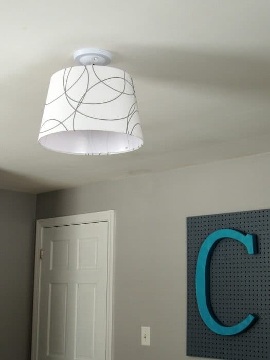 The ceiling light fixture in our baby boy nursery