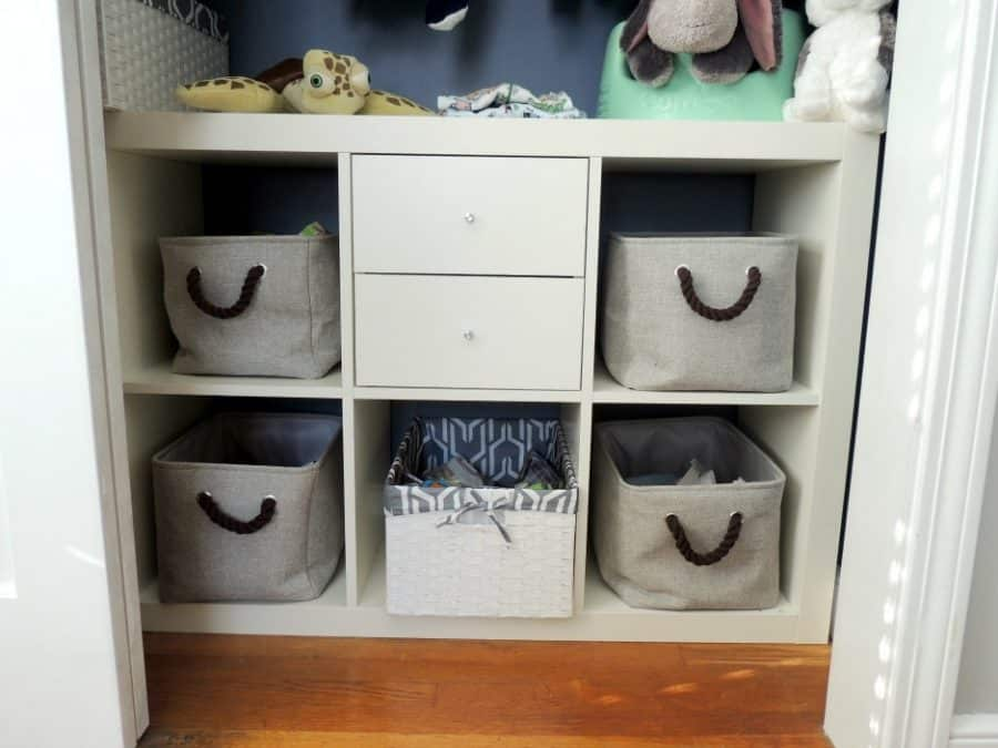 These cubbies in the closet helped us keep our baby boy nursery organized and neat