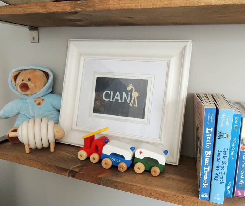 Cian's baby boy nursery decor was shades of blue with colorful touches from toys, books, and stuffed animals
