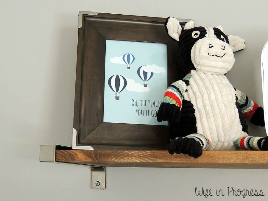 We created DIY floating book shelves for our baby boy nursery