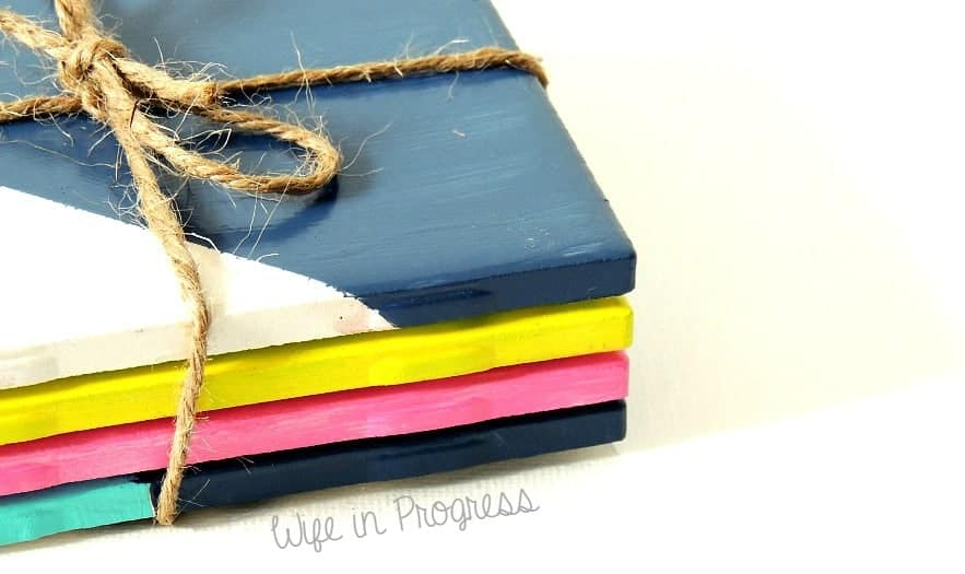 DIY tile coasters wrapped in twine