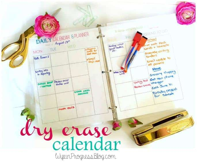 Free Printable Dry Erase Calendar | Wife in Progress