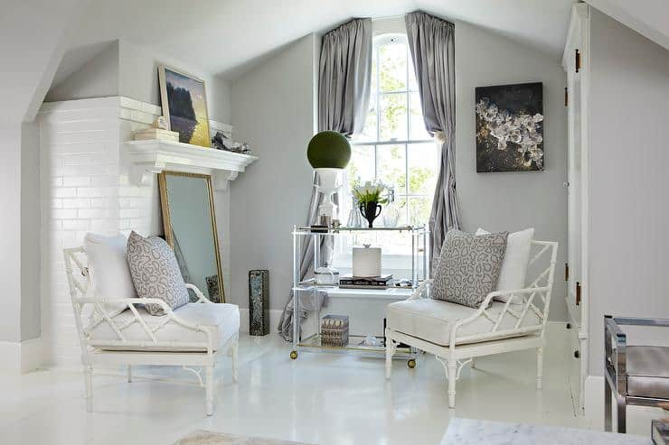 sitting room with gray owl walls