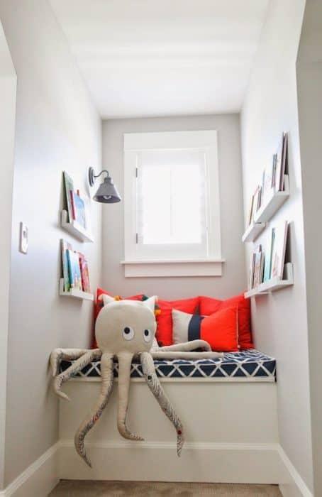 Reading nook painted benjamin moore gray owl