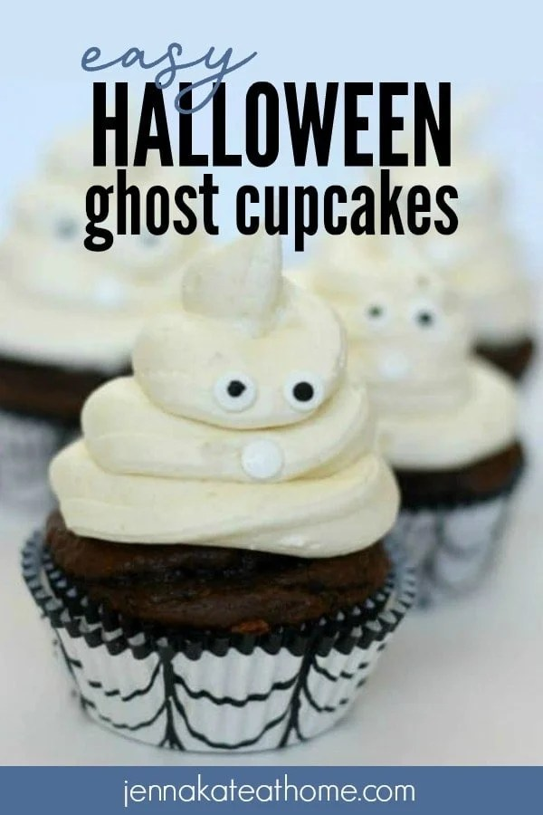 These simple Halloween Ghost Cupcakes are a fun way to decorate cupcakes for Halloween. Whether you make your own cupcakes or use store bought, these cute ghosts are sure to be a hit with both kids and adults.