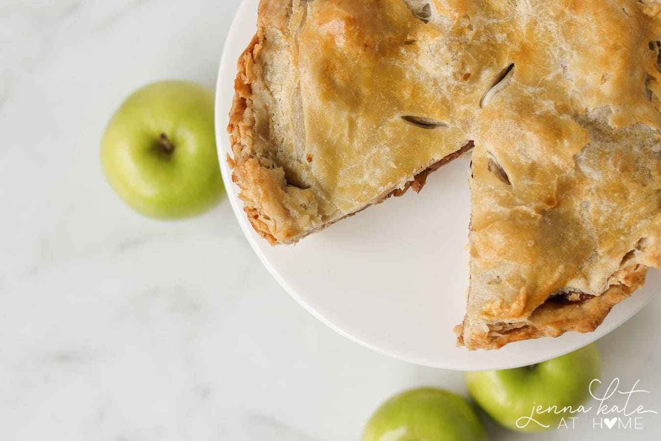 apple pie with a slice taken out