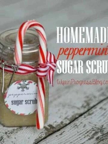 DIY handmade peppermint sugar scrub
