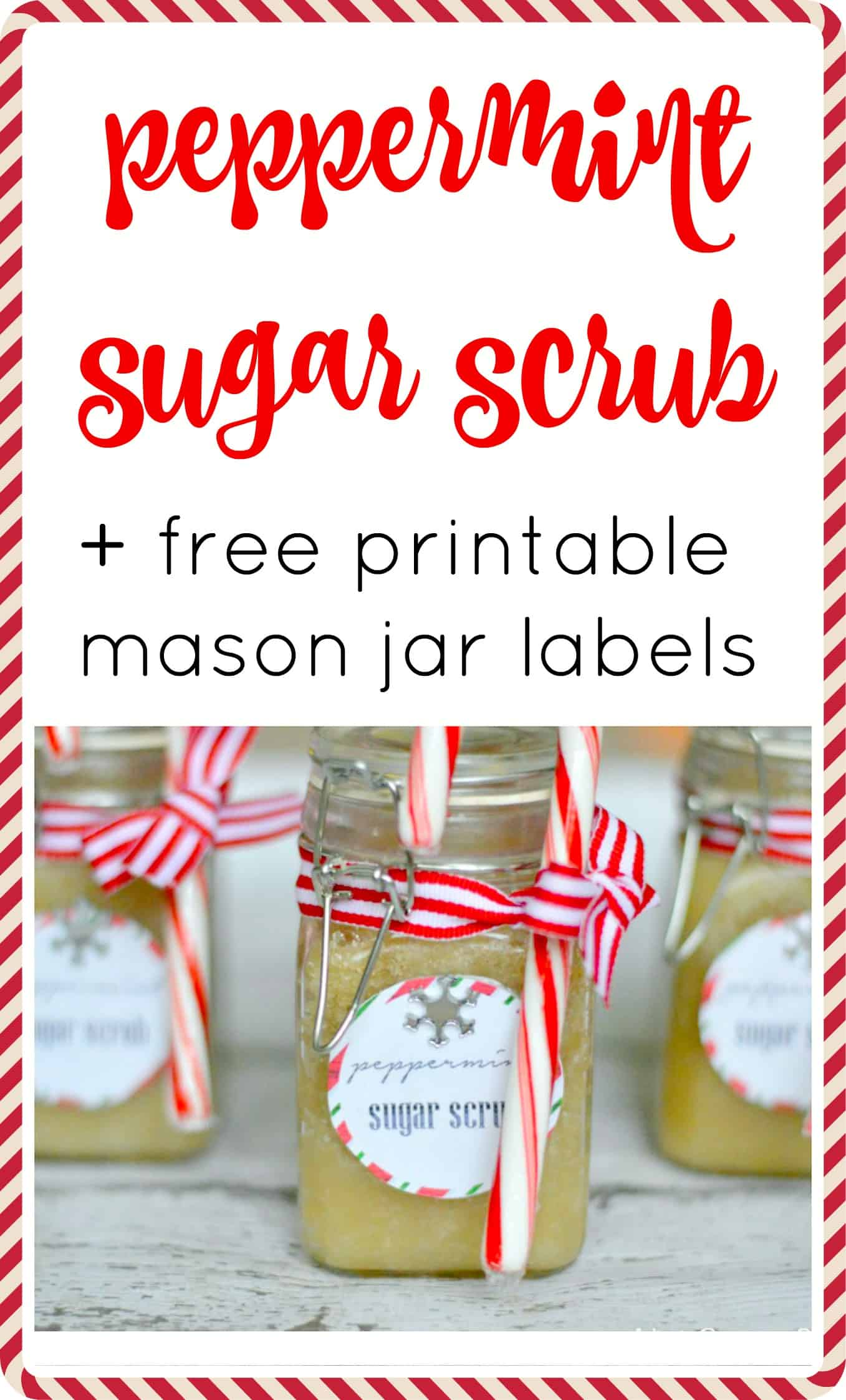This peppermint sugar scrub + free printable labels is a fun and easy gift for christmas and the holiday season. You'll love it so much that you will make some for yourself!!