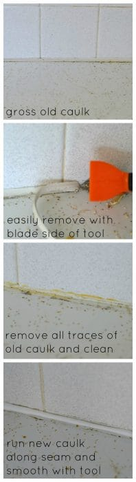 This caulking took allows you to easily remove old, grimy caulk and recaulk a clean, straight line