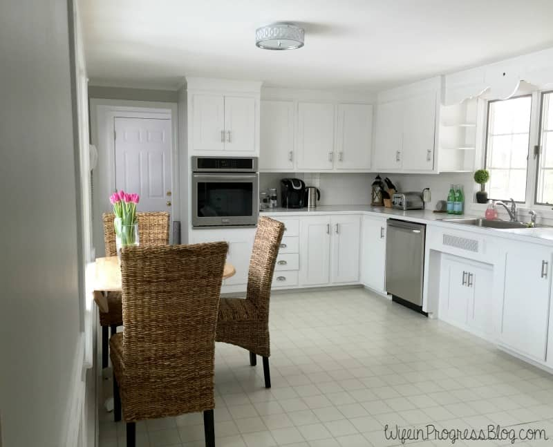 Sherwin Williams Repose Gray in the kitchen - A neutral gray with a beige (warm) undertone