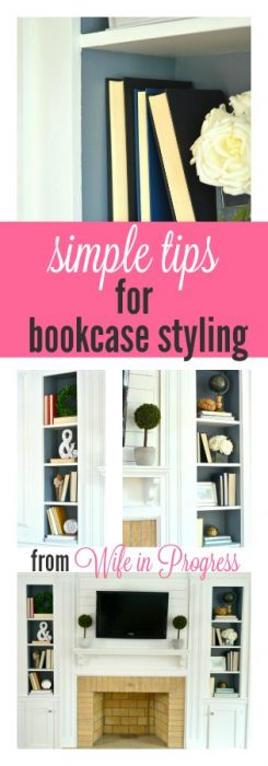 Simple Bookcase Styling Tips from WifeinProgressBlog.com