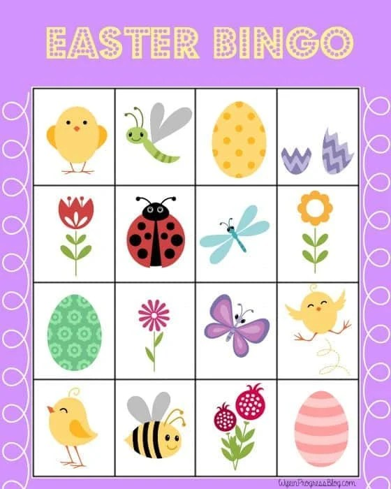 FREE Printable Easter Bingo Game featuring butterflies, bees, eggs, birds and flowers.