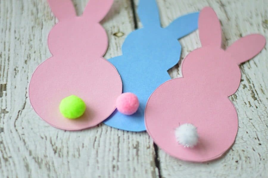 3 paper Easter bunny printables now cut out and ready to decorate baskets or cards