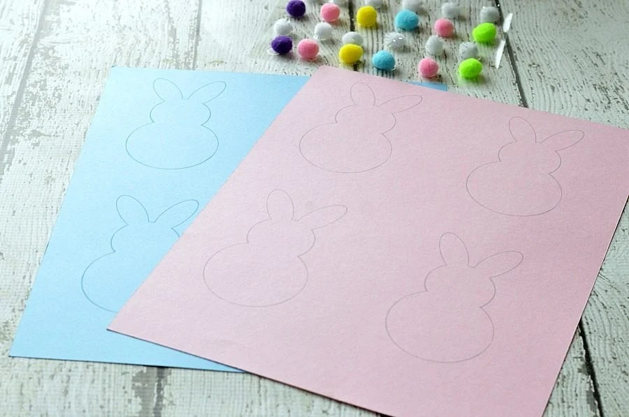 4 Easter bunny shapes printed onto card stock