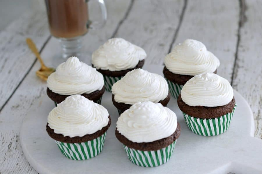 The base of these Irish coffee cupcakes is a rich chocolate stout batter