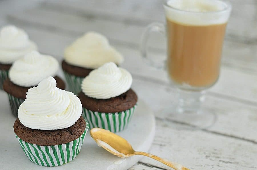 These Irish Coffee Cupcakes are perfect for St. Patrick's Day! Rich chocolate stout cupcakes topped with fresh whipped cream