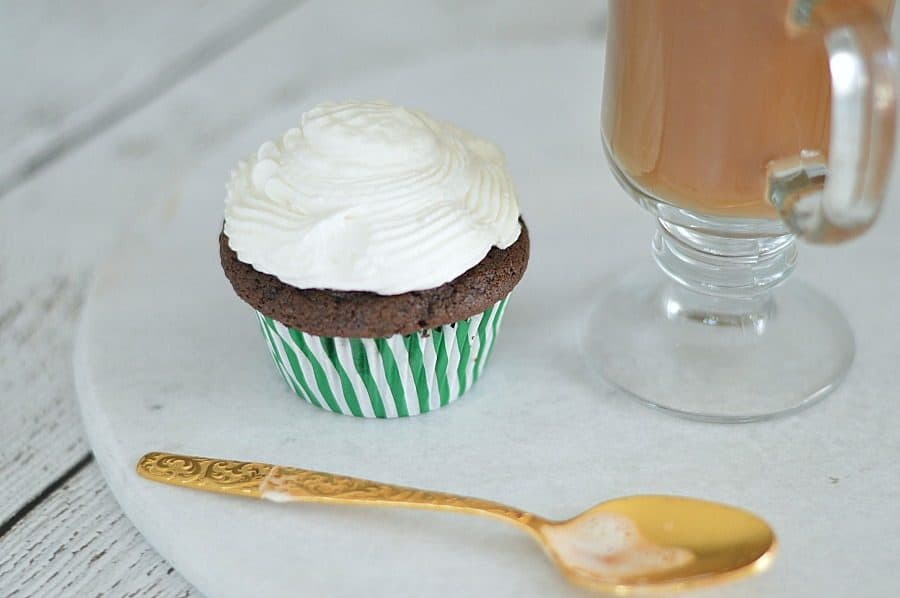 Irish coffee cupcake topped with a perfectly-sweet homemade whipped cream