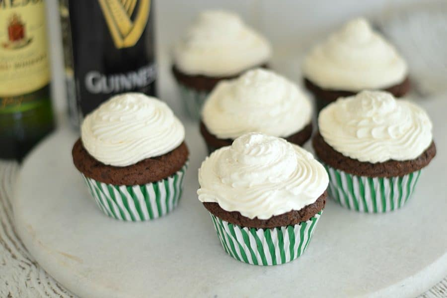 These Irish coffee cupcakes are topped with a fresh-made whipped cream