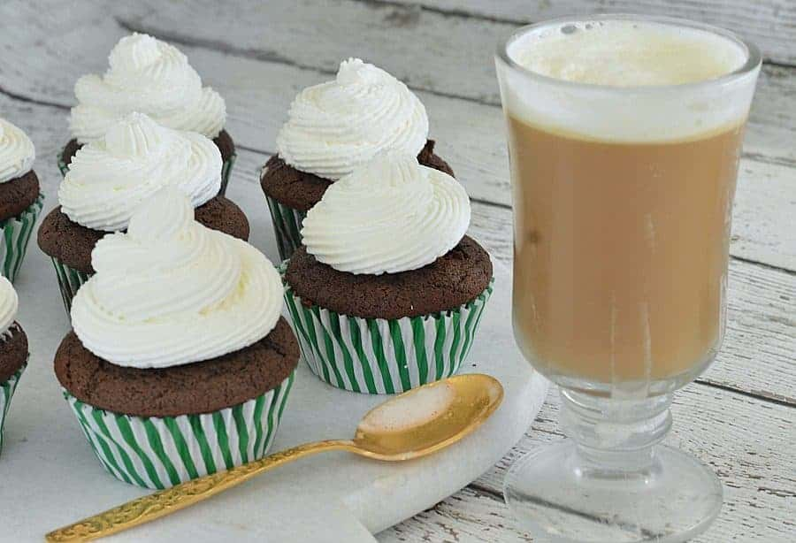 Pair these sweet chocolate cupcakes with some classic Irish coffee