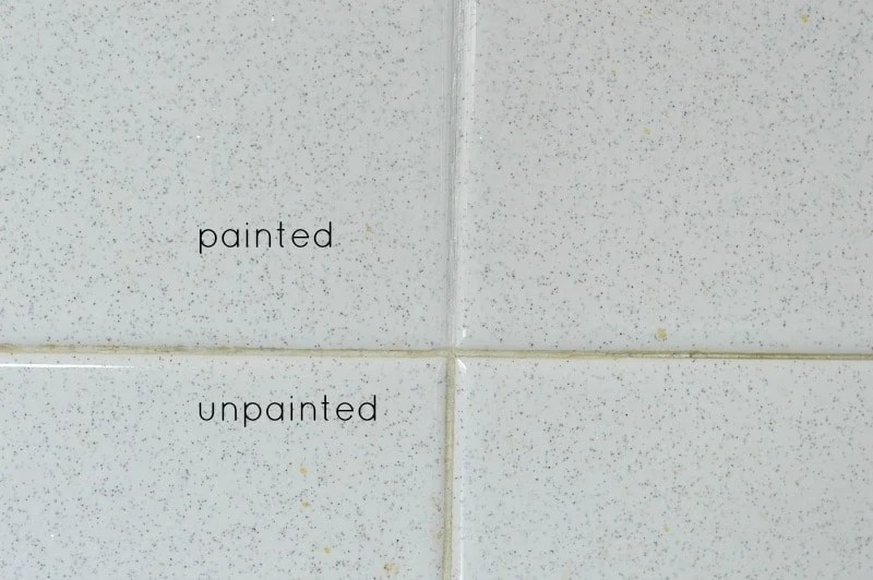 Here's what painted grout looks like compared to unpainted, still dirty grout