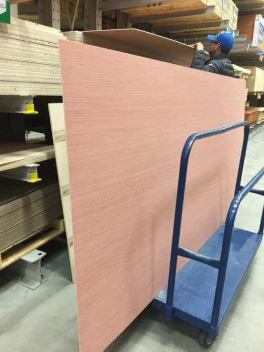 Large sheets of luam plywood from Lowe's to use for shiplap