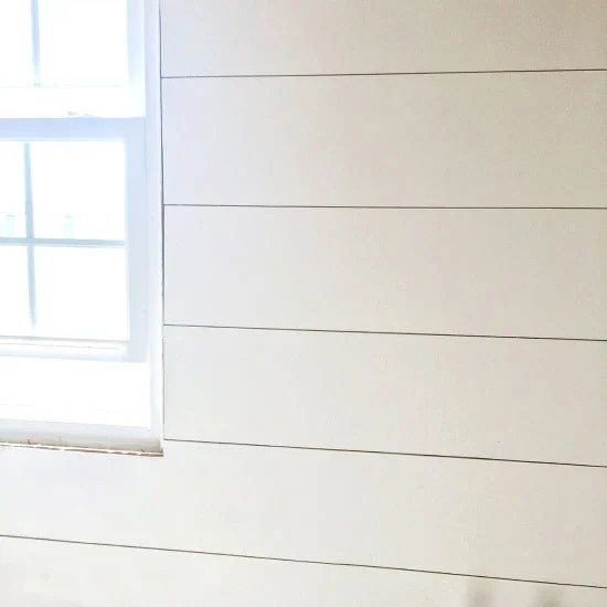 Painted shiplap from plywood in bathroom