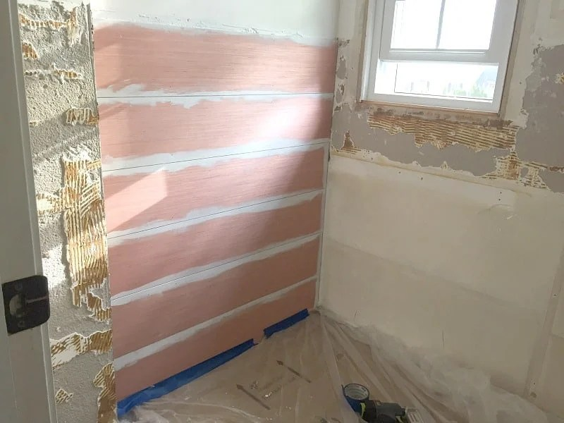 Install the shiplap on the wall and paint as you go